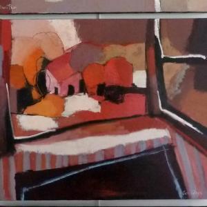 Soir au Ciel Écarlate, La Fenêtre Ouverte, La Table Moiré (Triptych) by Sarah Picon