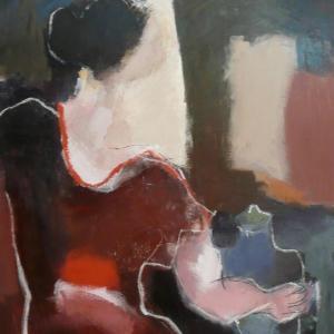 La Femme à la Robe Marron Chez l'Antiquaire by Sarah Picon