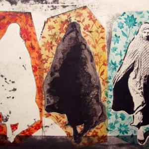 Three Women in Floral Pattern by Nahid Hagigat