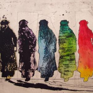 Kurdish Women in Red by Nahid Hagigat