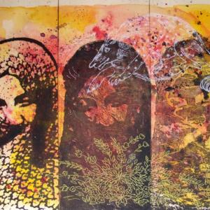 Three Faces with White Animal by Nahid Hagigat