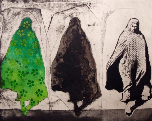 Three Women in Green Pattern by Nahid Hagigat