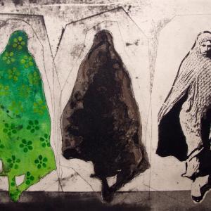 Three Women in Green Pattern by Nahid Hagigat