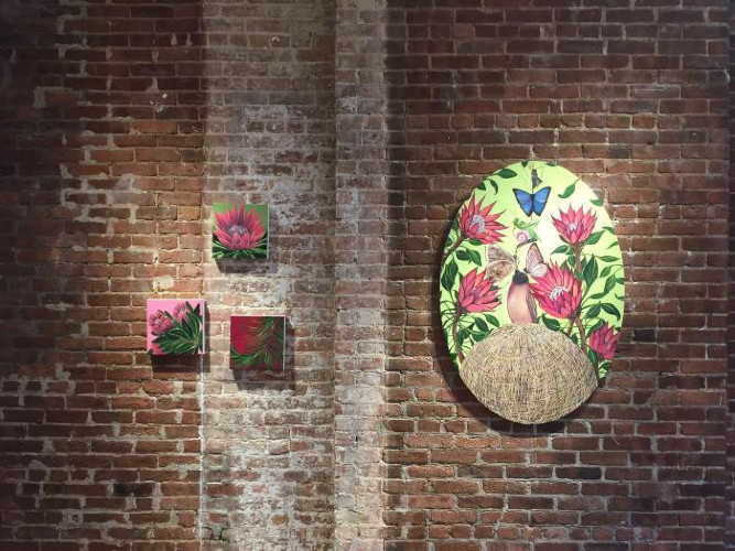 Installation View of The Night Garden: New Paintings by Allison Green